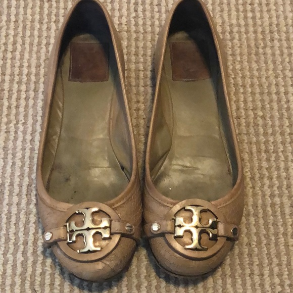 Tory Burch Tan Flats with Gold Logo